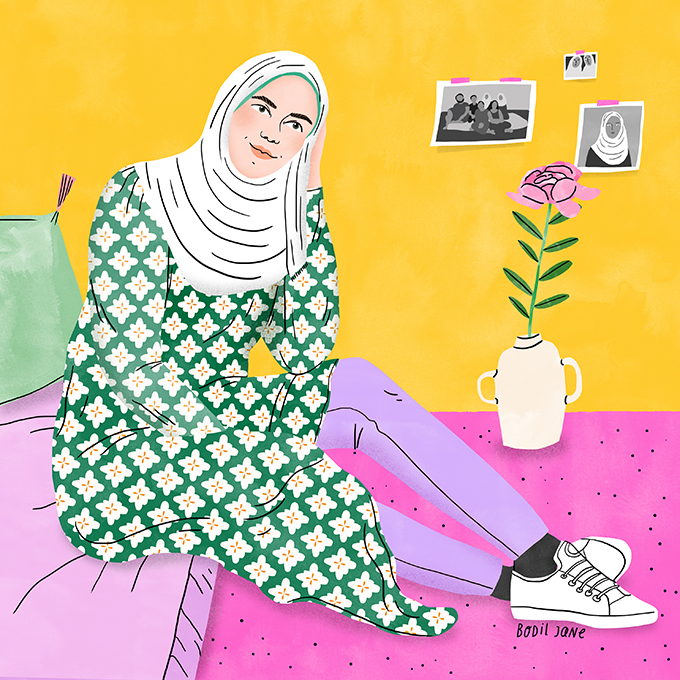 Raneem has taken a stand against child marriage. Illustration by Bodil Jane for UNFPA.