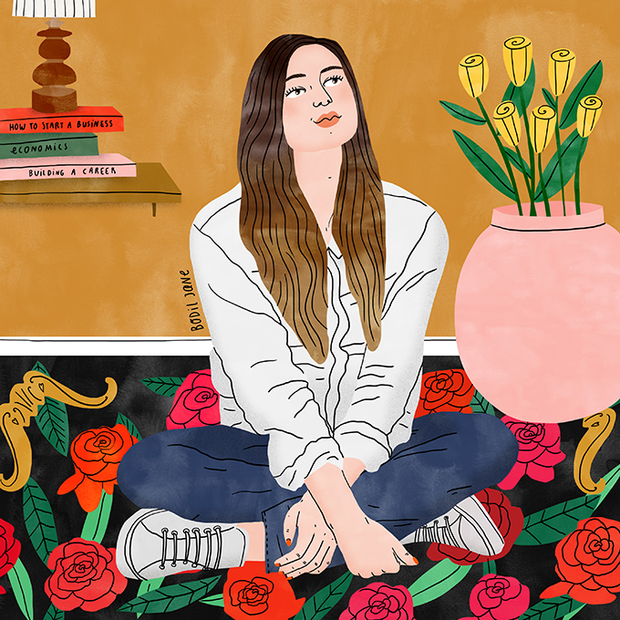 Amina says girls have fewer career prospects than boys. Illustration by Bodil Jane for UNFPA.