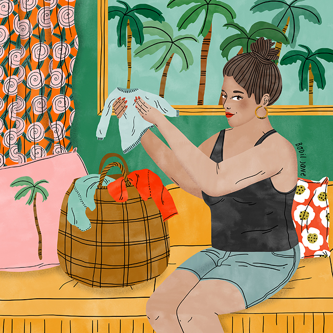 Hillary managed to stay in school as a teen mom, and is now an advocate for girls. Illustration by Bodil Jane for UNFPA.