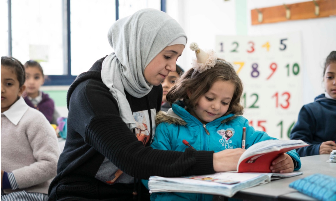 A teacher works with students in a school in Ramallah, West Bank before the COVID-19 pandemic. Photo: HAYA Joint Programme/Samar Hazboun